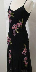 Sue Wong Nocturne Black Silk Floral Beaded Dress